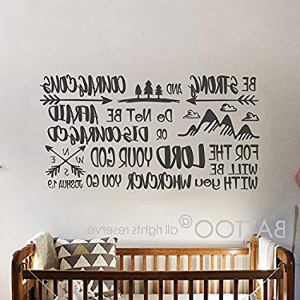 Amazon: Battoo Joshua 1:9 Be Strong And Courageous Boys Nursery Throughout 2018 Nursery Bible Verses Wall Decals (View 15 of 15)