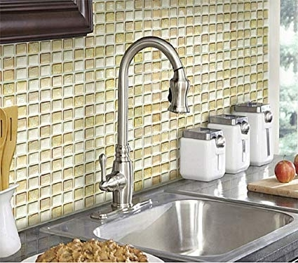Amazon: Beaustile Beige Mosaic 3D Wall Stickers 2 Sheets Home For 2017 3D Wall Art For Bathroom (View 15 of 15)