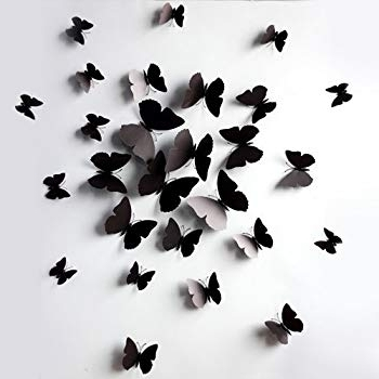 Amazon: Black 24Pcs 3D Butterfly Wall Stickers Decor Art Throughout Most Current Butterflies 3D Wall Art (View 2 of 15)