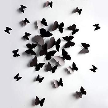 Amazon: Black 24Pcs 3D Butterfly Wall Stickers Decor Art Throughout Most Current Butterflies 3D Wall Art (Gallery 1 of 15)