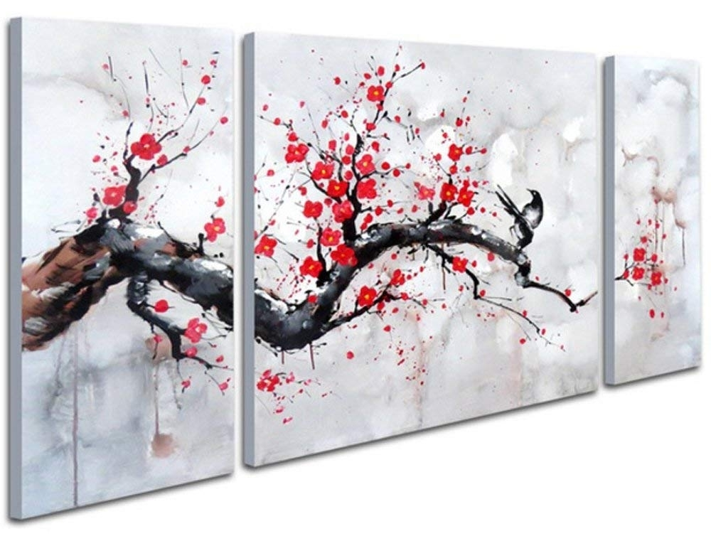 Amazon: Black White Red Modern Abstract Cherry Blossom Wall Art Regarding Popular Kirby Abstract Wall Art (View 1 of 15)