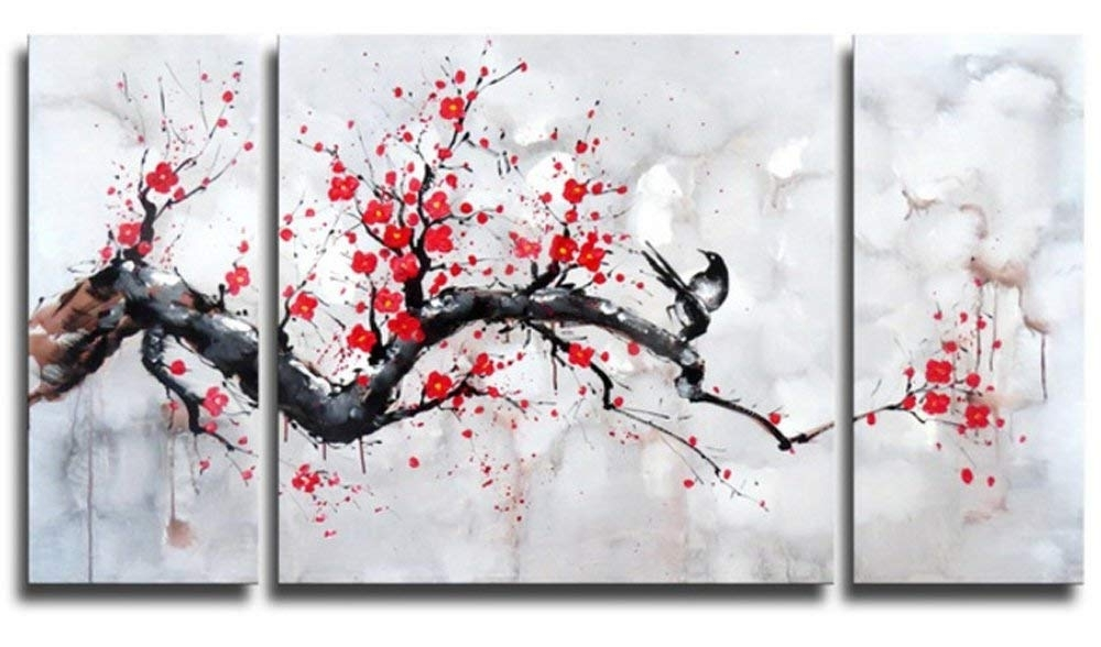 Amazon: Black White Red Modern Abstract Cherry Blossom Wall Art Within Fashionable Cherry Blossom Oil Painting Modern Abstract Wall Art (View 1 of 15)