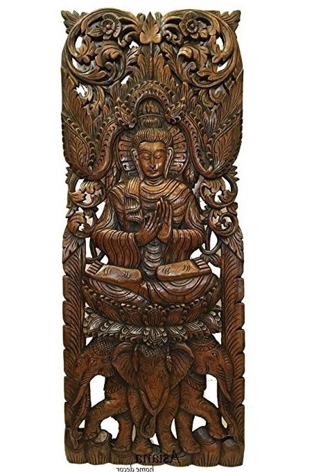 Amazon: Buddha Large Wood Wall Art Carved Wood Wall Panel In In Favorite Buddha Wood Wall Art (View 2 of 15)