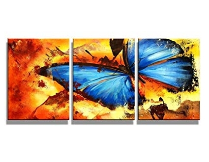 Amazon: Canvas Wall Art Abstract Butterfly Oil Paintings Throughout Current Abstract Butterfly Wall Art (View 7 of 15)