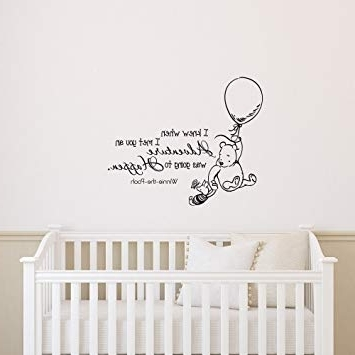 Amazon : Classic Winnie The Pooh Wall Decal Quote I Knew When I Inside Trendy Winnie The Pooh Nursery Quotes Wall Art (View 1 of 15)