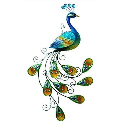 """Amazon: Comfy Hour 24"""" Blue Metal Art Peacock Wall Decor: Home In Most Recent Peacock Metal Wall Art (View 2 of 15)"""