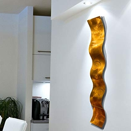 Amazon: Copper 3D Abstract Metal Wall Art Sculpture Wave With Famous Abstract Copper Wall Art (View 13 of 15)
