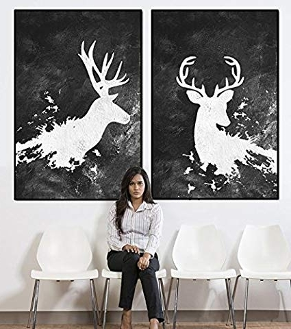 Amazon: Deer Abstract Wall Art, Deer With Antlers Large Wall Art With Fashionable Abstract Deer Wall Art (View 7 of 15)
