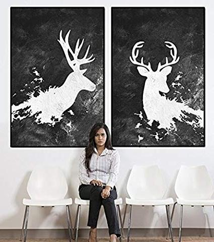 Amazon: Deer Abstract Wall Art, Deer With Antlers Large Wall Art With Fashionable Abstract Deer Wall Art (View 2 of 15)
