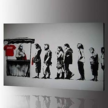 "Amazon: Dvq Art – Banksy Canvas Wall Art ""destroy Capitalism Intended For Fashionable Banksy Canvas Wall Art (Gallery 11 of 15)"