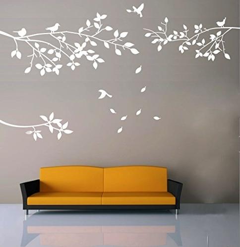 Amazon: Elegant Tree And Birds Wall Decal Art Branch Wall Regarding Popular Tree Branch Wall Art (Gallery 3 of 15)