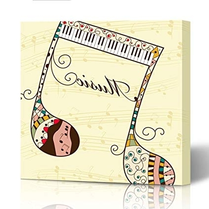 "Amazon: Emvency Canvas Wall Art 16""x16"" Print Painting For With Most Current Abstract Musical Notes Piano Jazz Wall Artwork (View 9 of 15)"