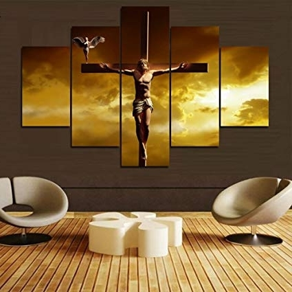 Amazon: Extra Large 5 Piece Canvas Wall Art Jesus Crucifixion With Regard To Newest Christian Canvas Wall Art (View 7 of 15)