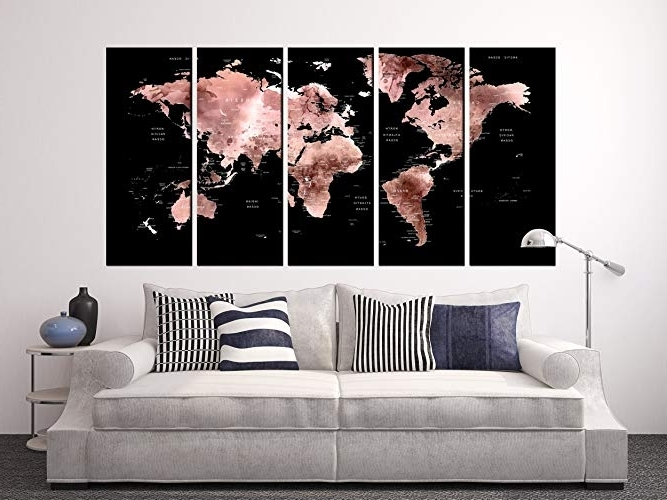Amazon: Extra Large Wall Decals Black And Rose Gold World Map On For Current Framed World Map Wall Art (Gallery 14 of 15)