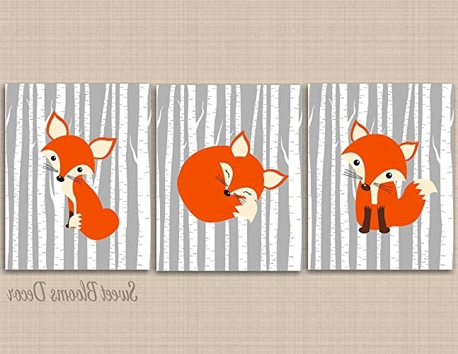 Amazon: Fox Nursery Wall Art,gray Fox Nursery Wall Art,woodland For Latest Childrens Wall Art Canvas (View 1 of 15)
