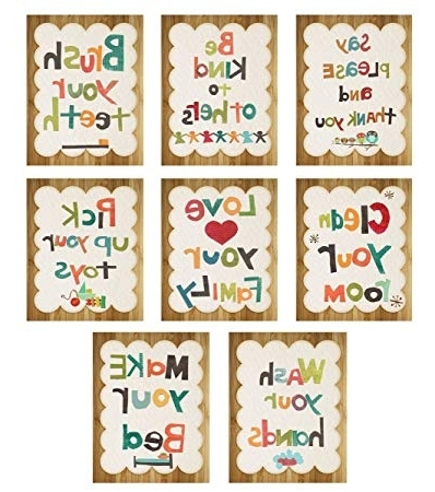 Amazon : Good Manners 5X7 Wall Cards, Nursery Wall Decor, Gender Regarding Widely Used Children Wall Art (View 1 of 15)