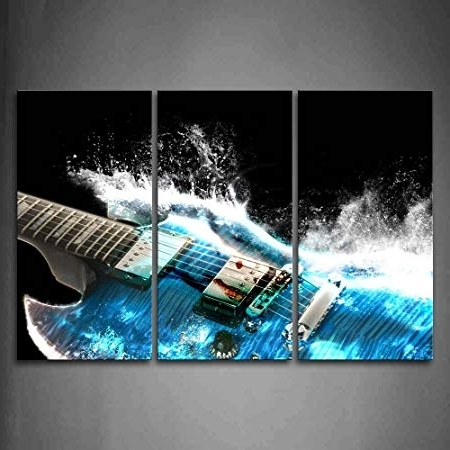Amazon: Guitar In Blue And Waves Looks Beautiful Wall Art With Regard To Preferred Guitar Canvas Wall Art (View 2 of 15)