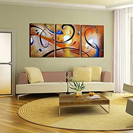 Amazon: 'happiness Abstract' Gallery Wrapped Hand Painted Canvas Intended For Preferred Happiness Abstract Wall Art (Gallery 1 of 15)