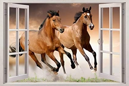 Amazon: Horses 3D Window View Decal Wall Sticker Home Decor Art Within Most Recent 3D Horse Wall Art (View 5 of 15)