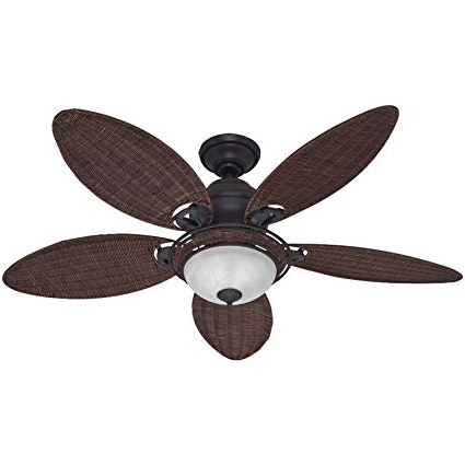 Amazon: Hunter 54095 Caribbean Breeze 54 Inch Ceiling Fan With For Most Recently Released Wicker Outdoor Ceiling Fans (View 10 of 15)
