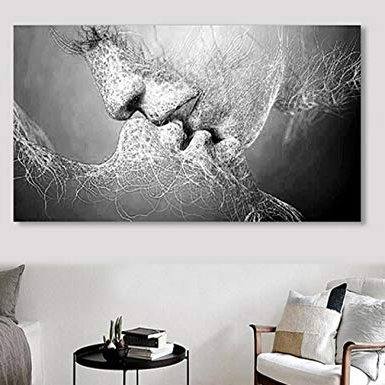 Amazon: Iumer Wall Decor Black & White Love Kiss Abstract Art On For Latest Black And White Abstract Wall Art (View 11 of 15)