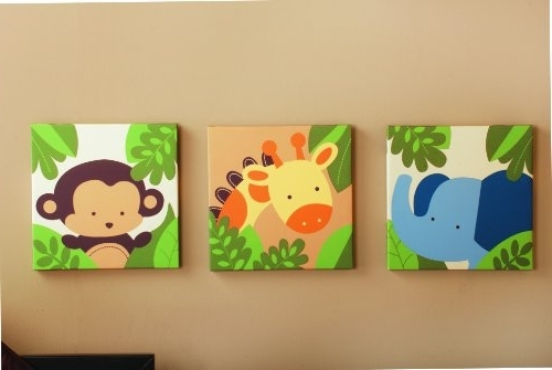 Amazon: Kids Line Jungle 123 Canvas Wall Art 3 Piece, Brown With Regard To Popular Jungle Canvas Wall Art (View 2 of 15)
