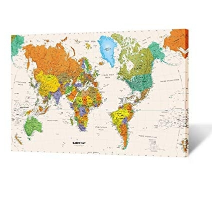 Amazon: Kreative Arts – Large Size World Map Wall Art Framed Art Inside Fashionable Framed World Map Wall Art (Gallery 8 of 15)