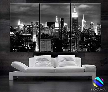 Featured Photo of New York Skyline Canvas Black And White Wall Art