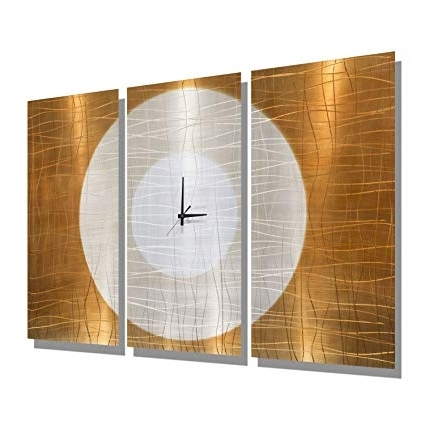 Amazon: Large Gold Abstract Metal Wall Clock – Handcrafted With Recent Abstract Metal Wall Art With Clock (View 2 of 15)