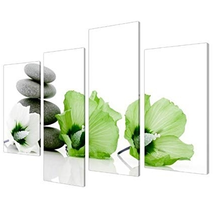 Amazon: Large Lime Green And White Floral Lily Canvas Wall Art Throughout Most Up To Date Large Green Wall Art (View 3 of 15)