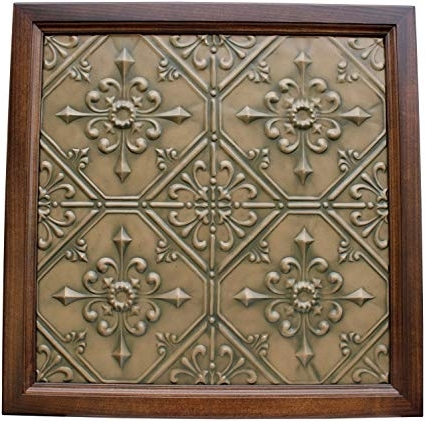 Amazon: Large Metal Framed Tin Ceiling Tile Wall Art – Vintage In Most Recently Released Metal Framed Wall Art (Gallery 9 of 15)