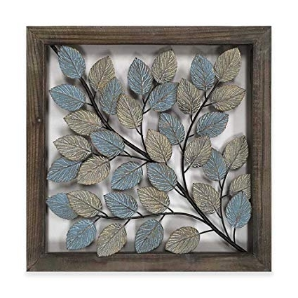 Amazon: Leaves Metal Wall Art Decor In Blue & Cream: Home & Kitchen inside Fashionable Blue And Cream Wall Art
