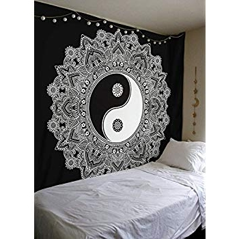 Amazon: Madhu International Ying Yang Wall Hanging Tapestry Throughout Well Known Yin Yang Wall Art (View 2 of 15)
