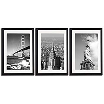 Amazon: New York City Nyc Skyline Skyscraper Canvas Print Wall In Best And Newest Black And White Framed Wall Art (Gallery 3 of 15)