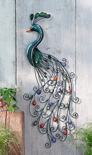 Amazon: Piersurplus Metal Peacock Wall Art With Colorful Regarding 2018 Metal Peacock Wall Art (Gallery 2 of 15)