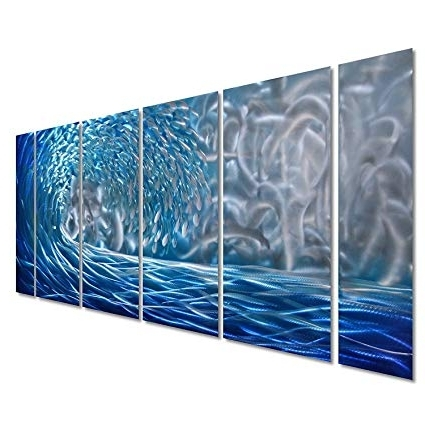 Amazon: Pure Art Blue Ocean Waves Metal Wall Art, Large Decor In With Regard To Newest Abstract Ocean Wall Art (View 6 of 15)