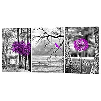 Amazon: Purple Landscape Trees Art 3Fas406 Canvas Prints Framed For Trendy Purple Canvas Wall Art (Gallery 12 of 15)