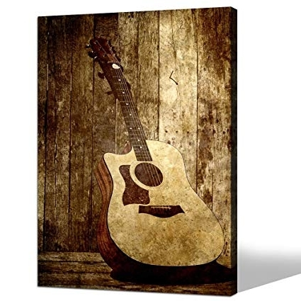Amazon: Sea Charm- Acoustic Guitar Canvas Art, Wall Decoration with regard to Most Up-to-Date Guitar Canvas Wall Art