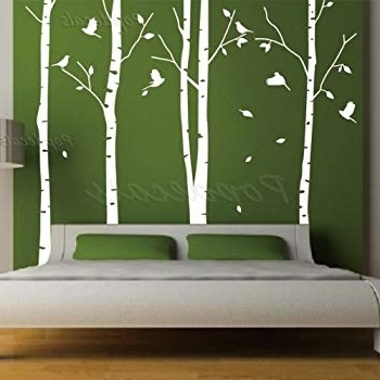 Amazon: Set Of 4 Big Birch Trees In White (View 6 of 15)