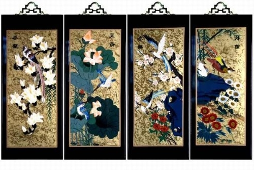 Amazon: Set Of 4 Oriental Lacquered Painting Wall Art Plaques With Regard To Newest Japanese Wall Art Panels (View 9 of 15)