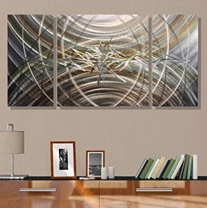 Amazon: Silver & Gold Abstract Metal Wall Art – Modern Decor Pertaining To Popular Silver And Gold Wall Art (Gallery 7 of 15)