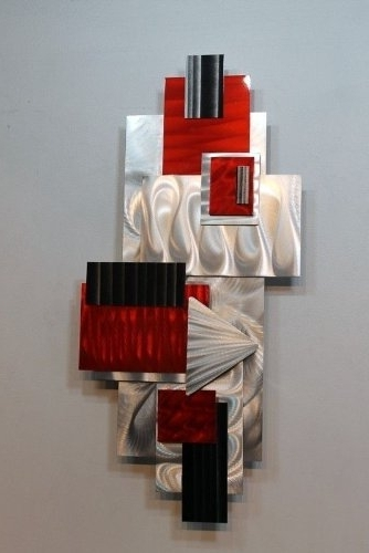 Amazon: Silver, Red, & Black Geometric Abstract Wall Sculpture Within Most Current Abstract Geometric Metal Wall Art (Gallery 6 of 15)
