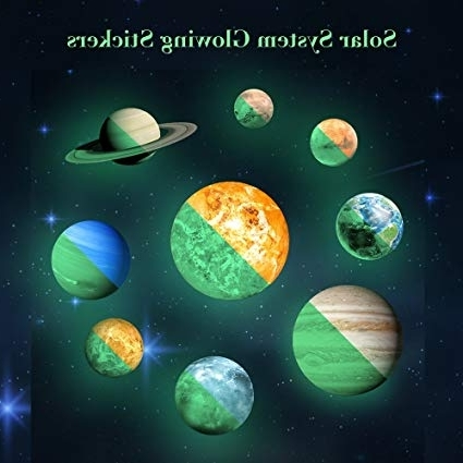 Amazon: Solar System Wall Decals 9 Pcs Glow In Dark Planets Throughout Preferred Solar System Wall Art (Gallery 13 of 15)