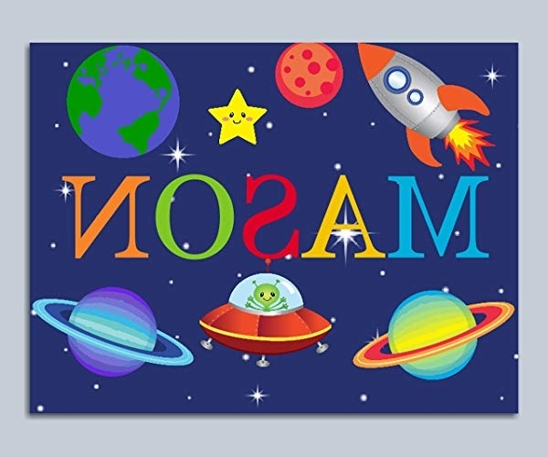 Amazon: Space Decor,space Wall Art,space Name Art,space Kids For Famous Outer Space Wall Art (Gallery 14 of 15)