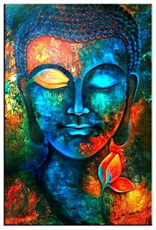 Amazon: Sunfrower Art Colorful Abstract Blue Buddha With Lotus For Well Liked Abstract Buddha Wall Art (View 4 of 15)