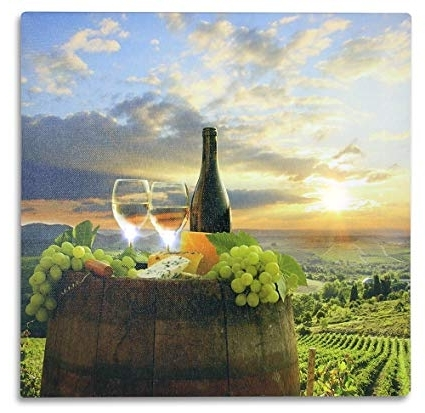 Amazon: Tuscan Wall Art – Led Canvas Print With A Vineyard Scene Regarding Favorite Vineyard Wall Art (View 11 of 15)