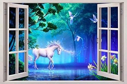 Amazon: Unicorn Fantasy 3D Window View Decal Wall Sticker Art Pertaining To Latest 3D Unicorn Wall Art (View 5 of 15)