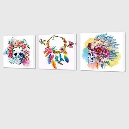 Amazon: Visual Art Decor Abstract Floral Skull Canvas Wall Art Pertaining To Fashionable Abstract Floral Canvas Wall Art (View 9 of 15)