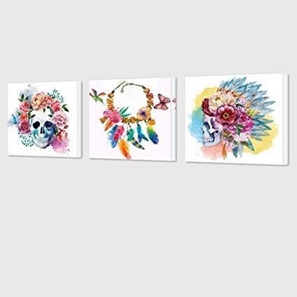 Amazon: Visual Art Decor Abstract Floral Skull Canvas Wall Art Pertaining To Fashionable Abstract Floral Canvas Wall Art (View 7 of 15)
