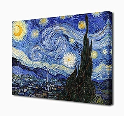 Amazon: Wall Art Canvas Prints The Starry Night Painting Pertaining To Most Recent Vincent Van Gogh Wall Art (View 1 of 15)